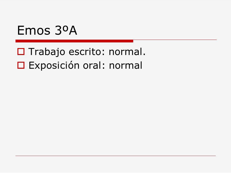 Emos 3ºA Trabajo escrito: normal. Exposición oral: normal