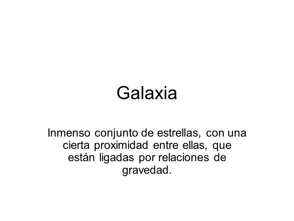 Galaxia Inmenso conjunto de estrellas, con una cierta proximidad entre ellas, que están ligadas por relaciones de gravedad.