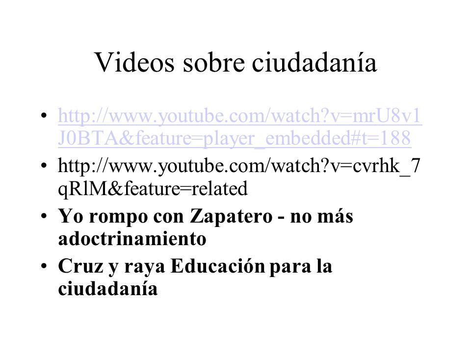 Videos sobre ciudadanía http://www.youtube.com/watch?v=mrU8v1 J0BTA&feature=player_embedded#t=188http://www.youtube.com/watch?v=mrU8v1 J0BTA&feature=p