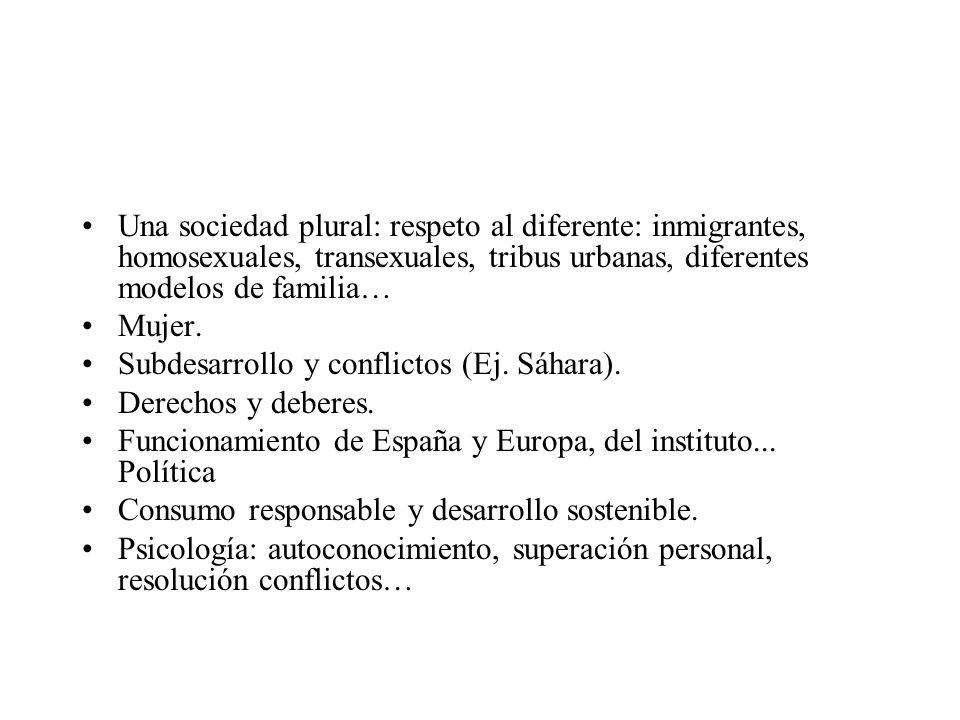 Una sociedad plural: respeto al diferente: inmigrantes, homosexuales, transexuales, tribus urbanas, diferentes modelos de familia… Mujer.