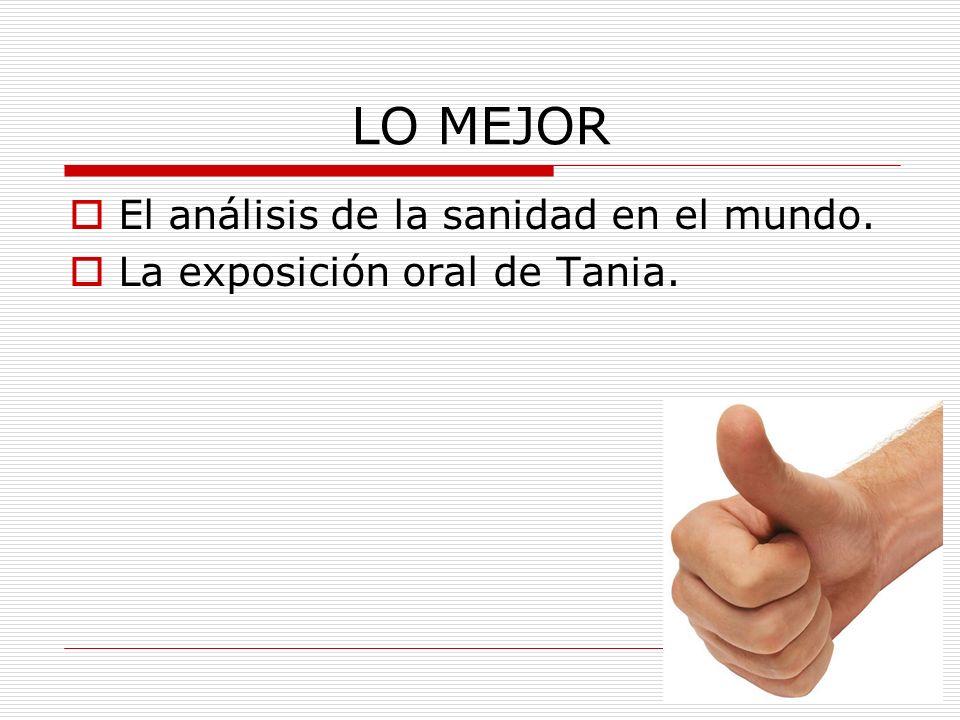 LO MEJOR El análisis de la sanidad en el mundo. La exposición oral de Tania.