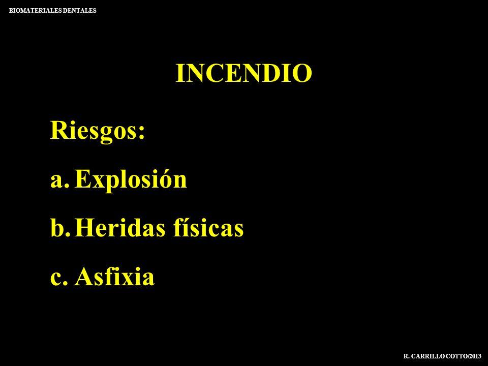 INCENDIO BIOMATERIALES DENTALES R. CARRILLO COTTO/2013 Riesgos: a.Explosión b.Heridas físicas c.Asfixia