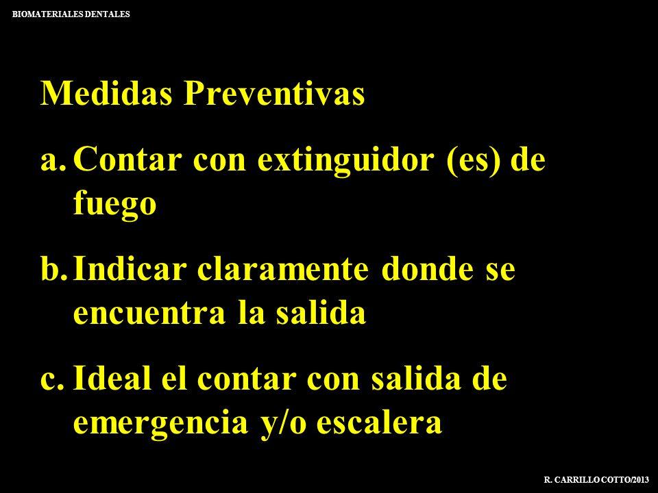 Medidas Preventivas a.Contar con extinguidor (es) de fuego b.Indicar claramente donde se encuentra la salida c.Ideal el contar con salida de emergenci