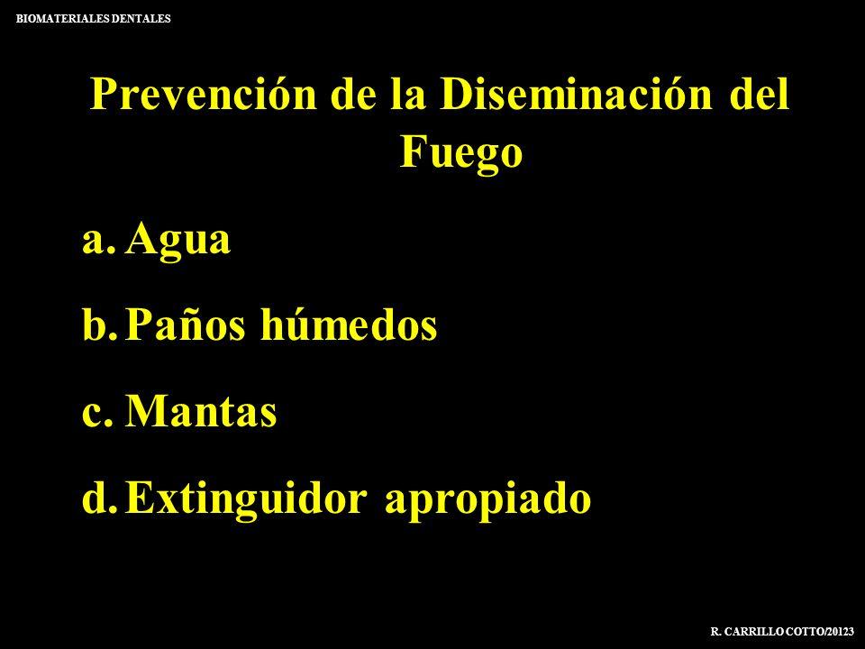 Prevención de la Diseminación del Fuego a.Agua b.Paños húmedos c.Mantas d.Extinguidor apropiado BIOMATERIALES DENTALES R. CARRILLO COTTO/20123