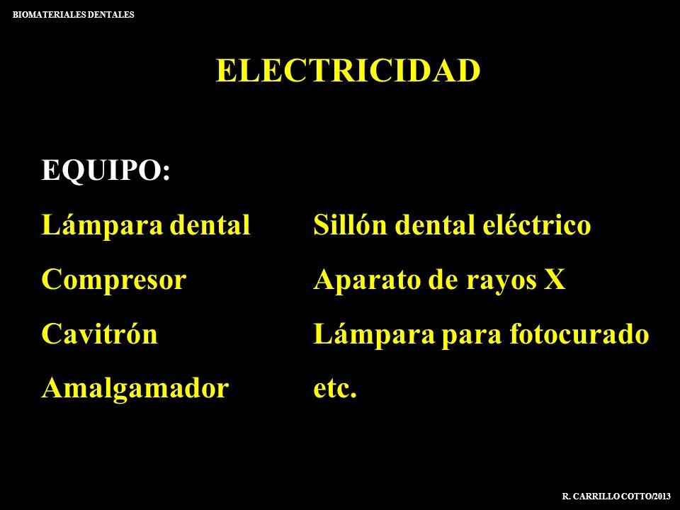 ELECTRICIDAD BIOMATERIALES DENTALES R. CARRILLO COTTO/2013 EQUIPO: Lámpara dentalSillón dental eléctrico CompresorAparato de rayos X CavitrónLámpara p
