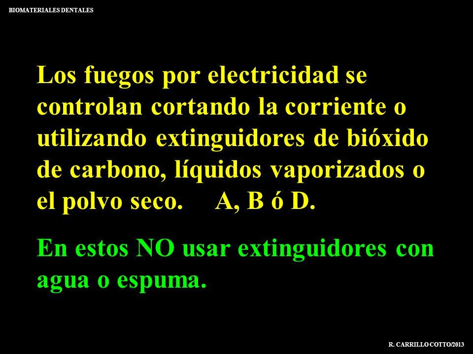 Los fuegos por electricidad se controlan cortando la corriente o utilizando extinguidores de bióxido de carbono, líquidos vaporizados o el polvo seco.