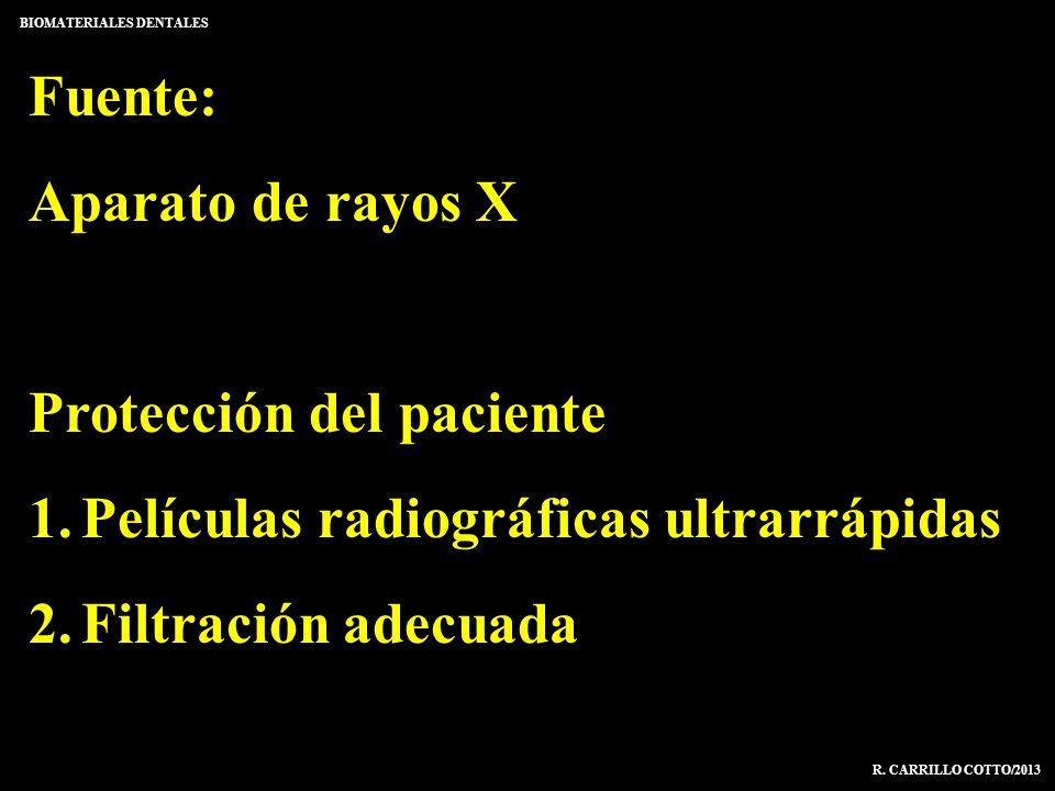 Fuente: Aparato de rayos X Protección del paciente 1.Películas radiográficas ultrarrápidas 2.Filtración adecuada BIOMATERIALES DENTALES R. CARRILLO CO