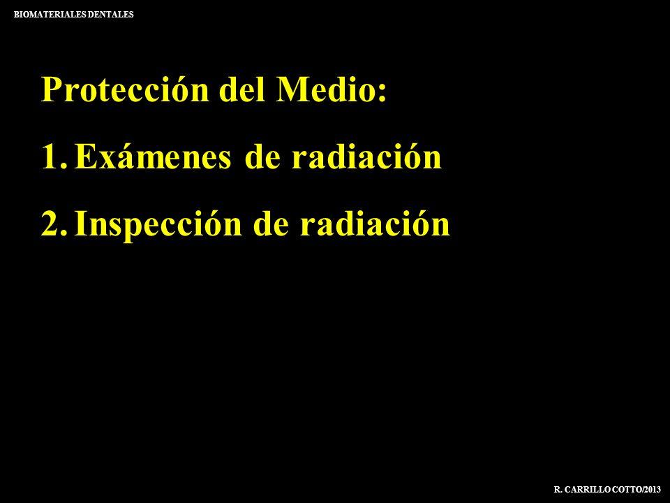 Protección del Medio: 1.Exámenes de radiación 2.Inspección de radiación BIOMATERIALES DENTALES R. CARRILLO COTTO/2013