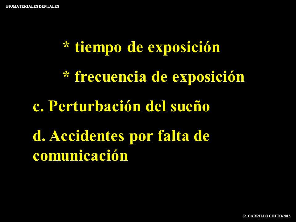 * tiempo de exposición * frecuencia de exposición c. Perturbación del sueño d. Accidentes por falta de comunicación BIOMATERIALES DENTALES R. CARRILLO