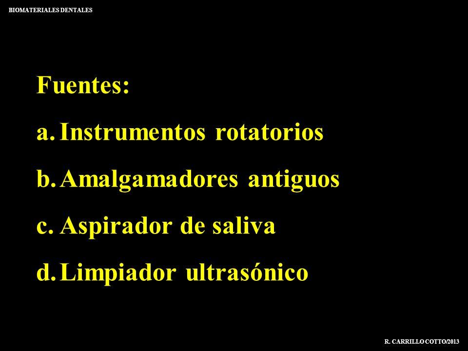 Fuentes: a.Instrumentos rotatorios b.Amalgamadores antiguos c.Aspirador de saliva d.Limpiador ultrasónico BIOMATERIALES DENTALES R. CARRILLO COTTO/201