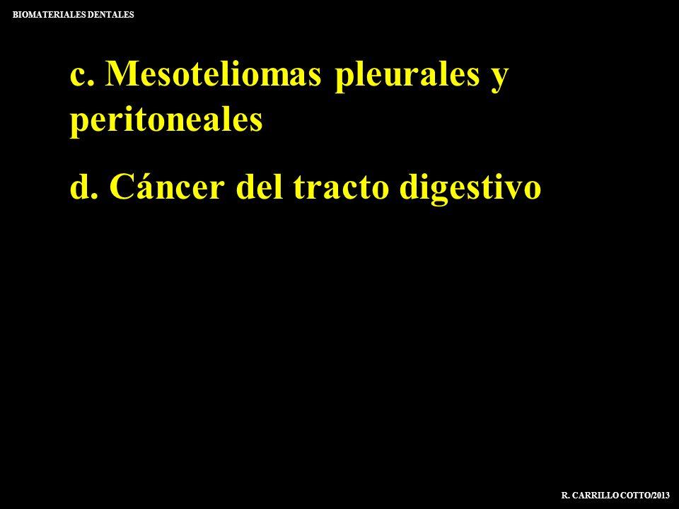 c. Mesoteliomas pleurales y peritoneales d. Cáncer del tracto digestivo BIOMATERIALES DENTALES R. CARRILLO COTTO/2013