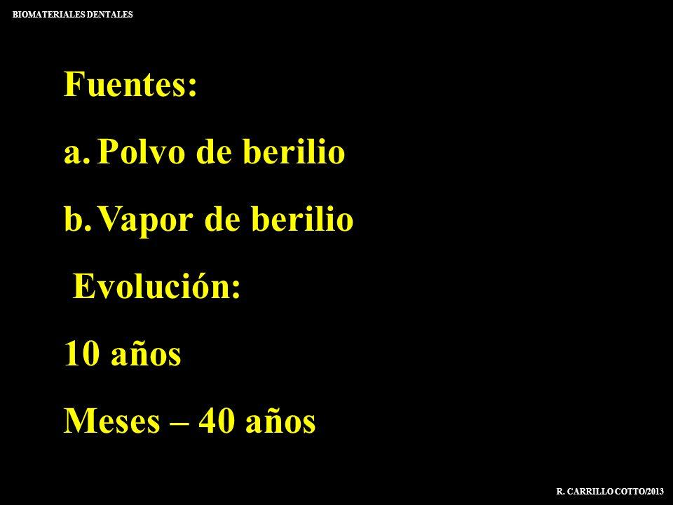 Fuentes: a.Polvo de berilio b.Vapor de berilio Evolución: 10 años Meses – 40 años BIOMATERIALES DENTALES R. CARRILLO COTTO/2013
