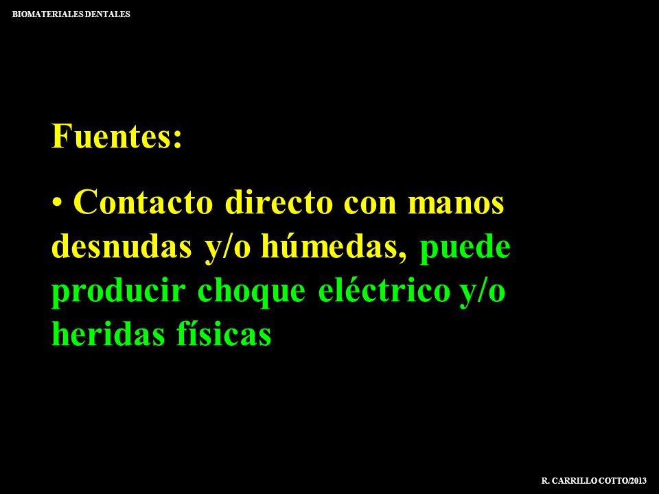 Fuentes: Contacto directo con manos desnudas y/o húmedas, puede producir choque eléctrico y/o heridas físicas BIOMATERIALES DENTALES R. CARRILLO COTTO