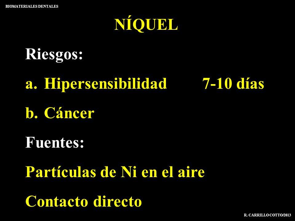 NÍQUEL Riesgos: a. Hipersensibilidad7-10 días b. Cáncer Fuentes: Partículas de Ni en el aire Contacto directo BIOMATERIALES DENTALES R. CARRILLO COTTO