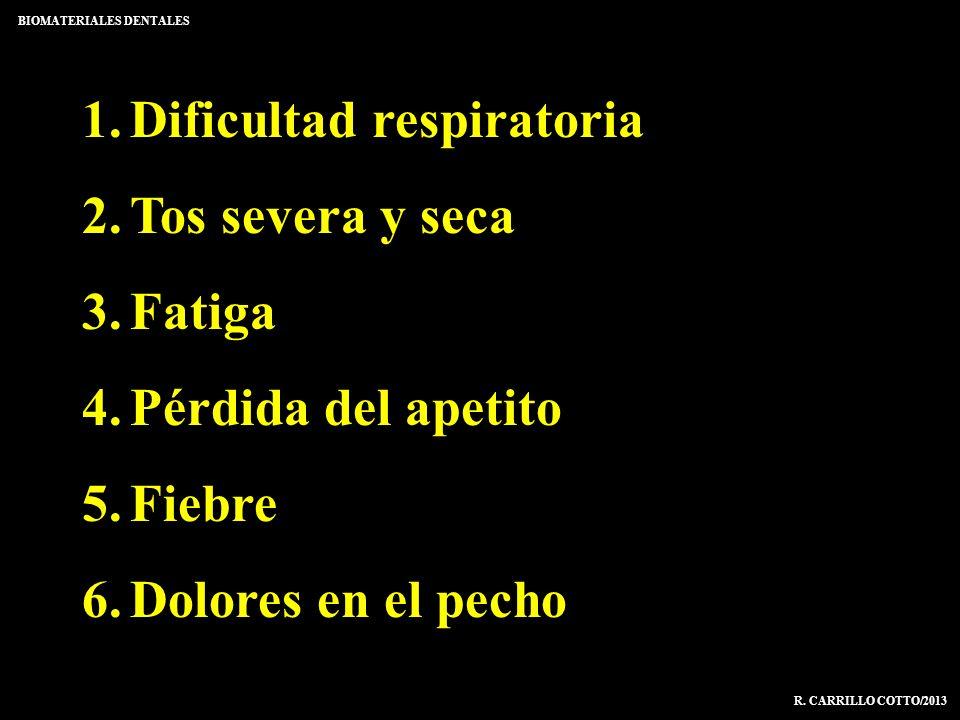 1.Dificultad respiratoria 2.Tos severa y seca 3.Fatiga 4.Pérdida del apetito 5.Fiebre 6.Dolores en el pecho BIOMATERIALES DENTALES R. CARRILLO COTTO/2