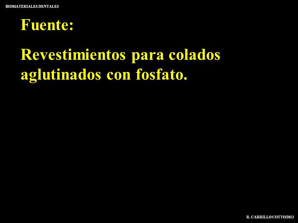 Fuente: Revestimientos para colados aglutinados con fosfato. BIOMATERIALES DENTALES R. CARRILLO COTTO/2013