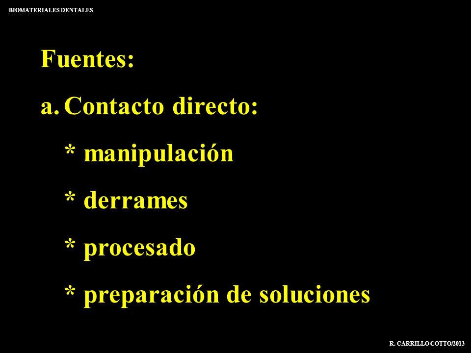 Fuentes: a.Contacto directo: * manipulación * derrames * procesado * preparación de soluciones BIOMATERIALES DENTALES R. CARRILLO COTTO/2013