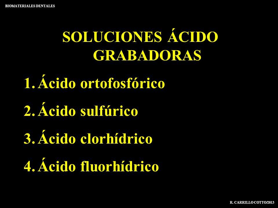 SOLUCIONES ÁCIDO GRABADORAS 1.Ácido ortofosfórico 2.Ácido sulfúrico 3.Ácido clorhídrico 4.Ácido fluorhídrico BIOMATERIALES DENTALES R. CARRILLO COTTO/