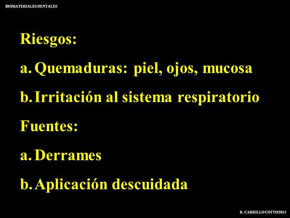 Riesgos: a.Quemaduras: piel, ojos, mucosa b.Irritación al sistema respiratorio Fuentes: a.Derrames b.Aplicación descuidada BIOMATERIALES DENTALES R. C