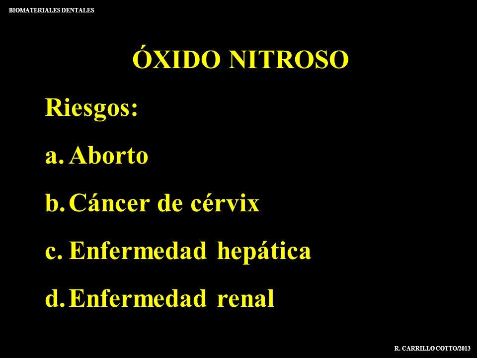 ÓXIDO NITROSO Riesgos: a.Aborto b.Cáncer de cérvix c.Enfermedad hepática d.Enfermedad renal BIOMATERIALES DENTALES R. CARRILLO COTTO/2013