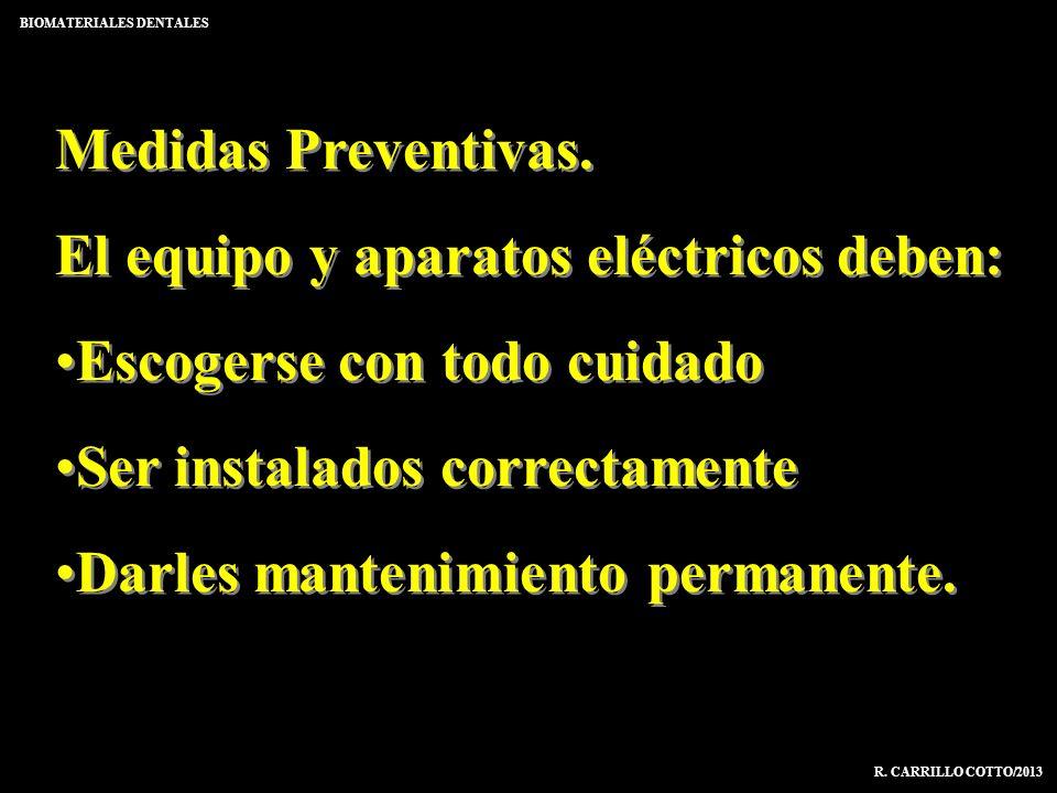 BIOMATERIALES DENTALES R. CARRILLO COTTO/2013 Medidas Preventivas. El equipo y aparatos eléctricos deben: Escogerse con todo cuidado Ser instalados co