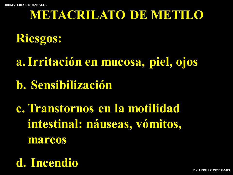 METACRILATO DE METILO Riesgos: a.Irritación en mucosa, piel, ojos b. Sensibilización c.Transtornos en la motilidad intestinal: náuseas, vómitos, mareo