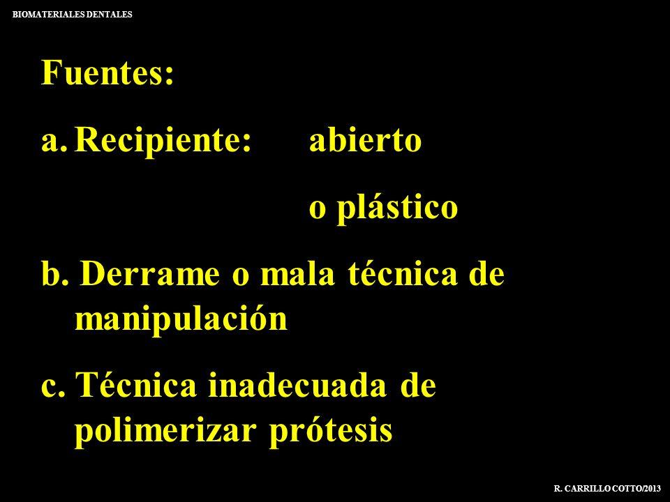 Fuentes: a.Recipiente:abierto o plástico b. Derrame o mala técnica de manipulación c. Técnica inadecuada de polimerizar prótesis BIOMATERIALES DENTALE