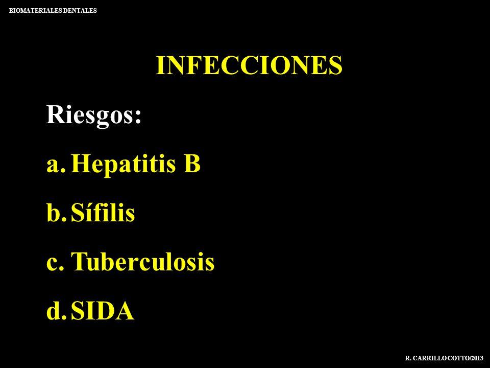 INFECCIONES Riesgos: a.Hepatitis B b.Sífilis c.Tuberculosis d.SIDA BIOMATERIALES DENTALES R. CARRILLO COTTO/2013