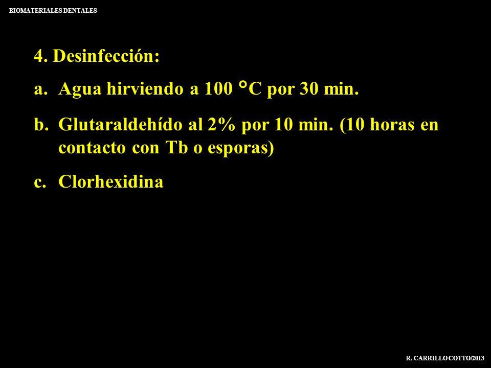 4. Desinfección: a.Agua hirviendo a 100 °C por 30 min. b.Glutaraldehído al 2% por 10 min. (10 horas en contacto con Tb o esporas) c.Clorhexidina BIOMA