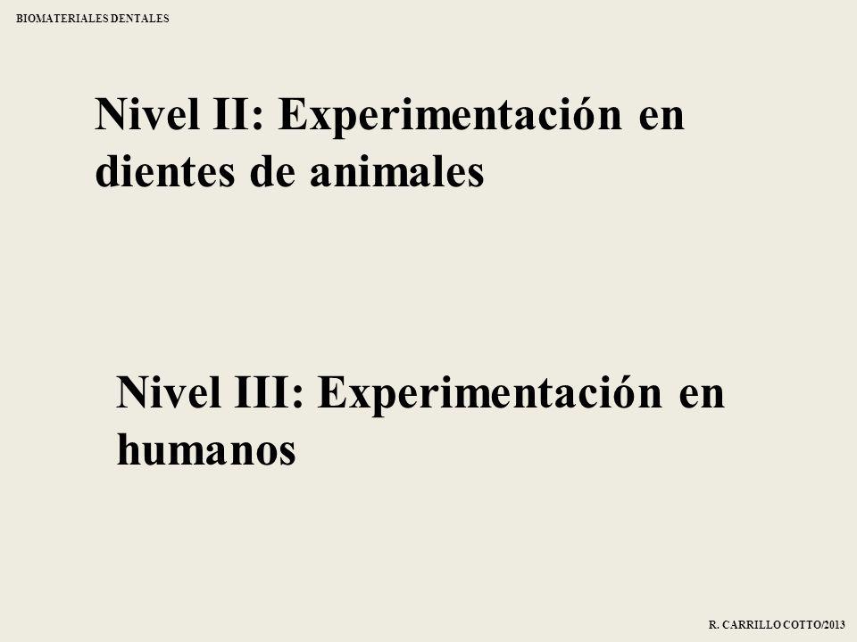 Nivel II: Experimentación en dientes de animales Nivel III: Experimentación en humanos BIOMATERIALES DENTALES R. CARRILLO COTTO/2013