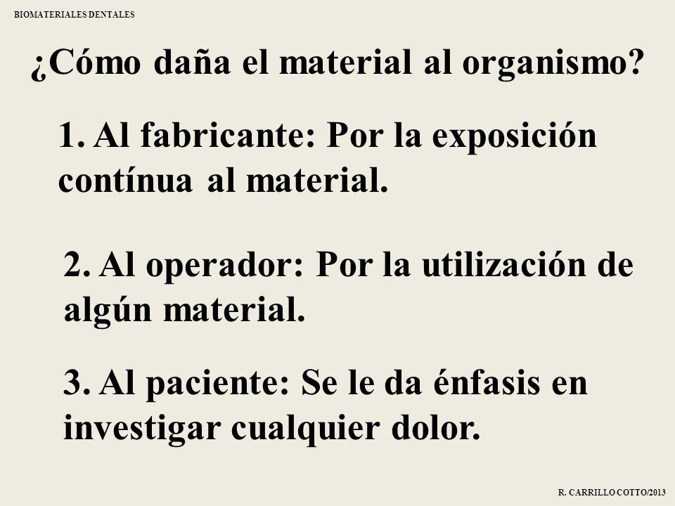 ¿Cómo daña el material al organismo? 1. Al fabricante: Por la exposición contínua al material. 2. Al operador: Por la utilización de algún material. 3
