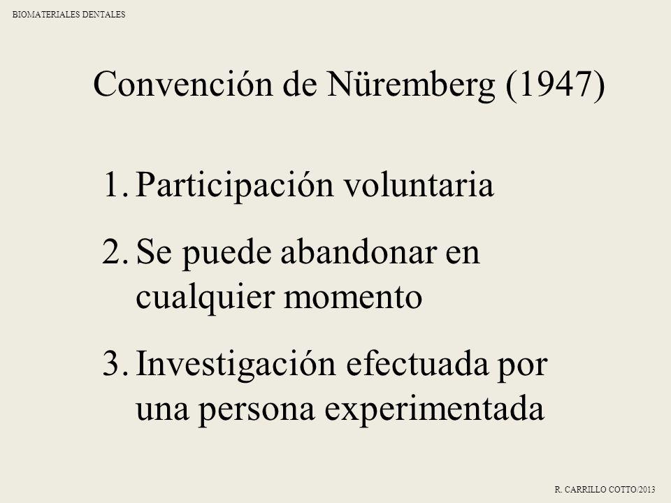 Convención de Nüremberg (1947) 1.Participación voluntaria 2.Se puede abandonar en cualquier momento 3.Investigación efectuada por una persona experime