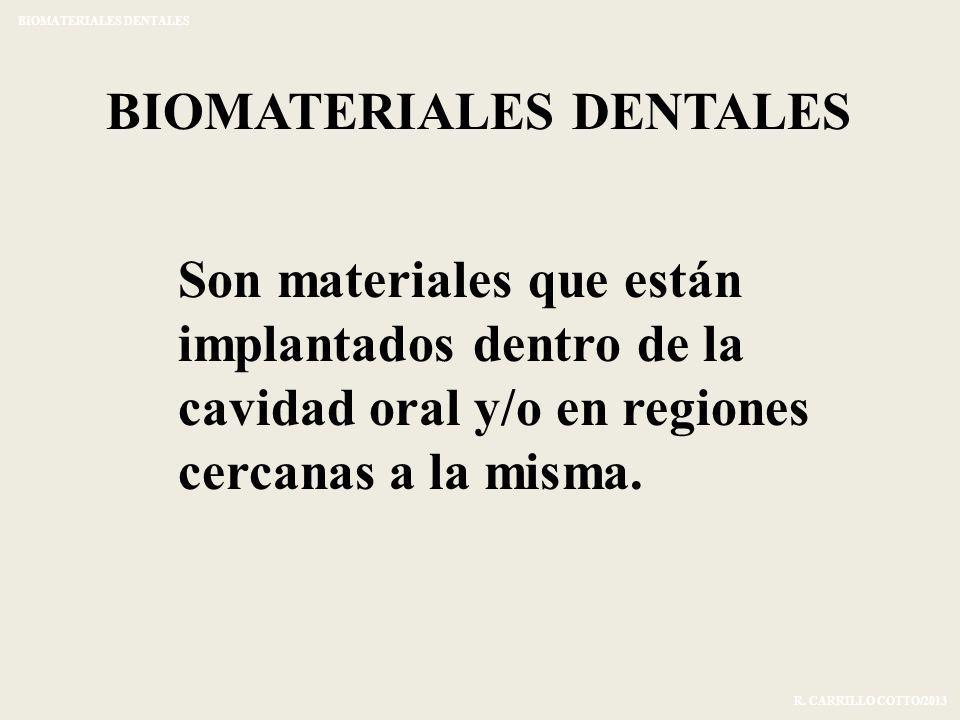 BIOMATERIALES DENTALES Son materiales que están implantados dentro de la cavidad oral y/o en regiones cercanas a la misma. BIOMATERIALES DENTALES R. C