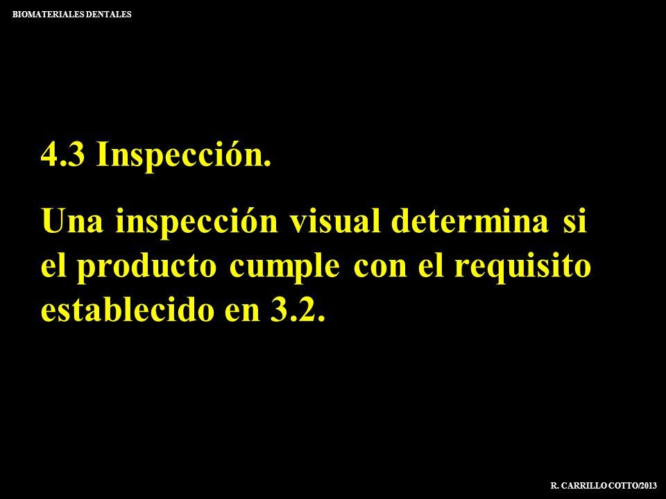 4.3 Inspección. Una inspección visual determina si el producto cumple con el requisito establecido en 3.2. BIOMATERIALES DENTALES R. CARRILLO COTTO/20