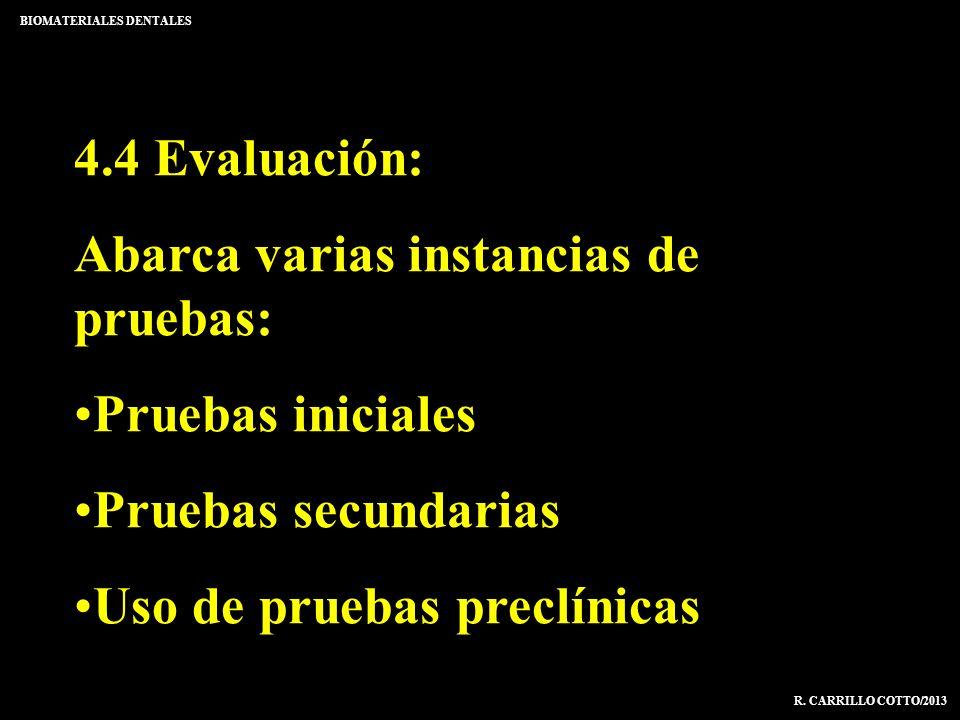 BIOMATERIALES DENTALES R. CARRILLO COTTO/2013 4.4 Evaluación: Abarca varias instancias de pruebas: Pruebas iniciales Pruebas secundarias Uso de prueba