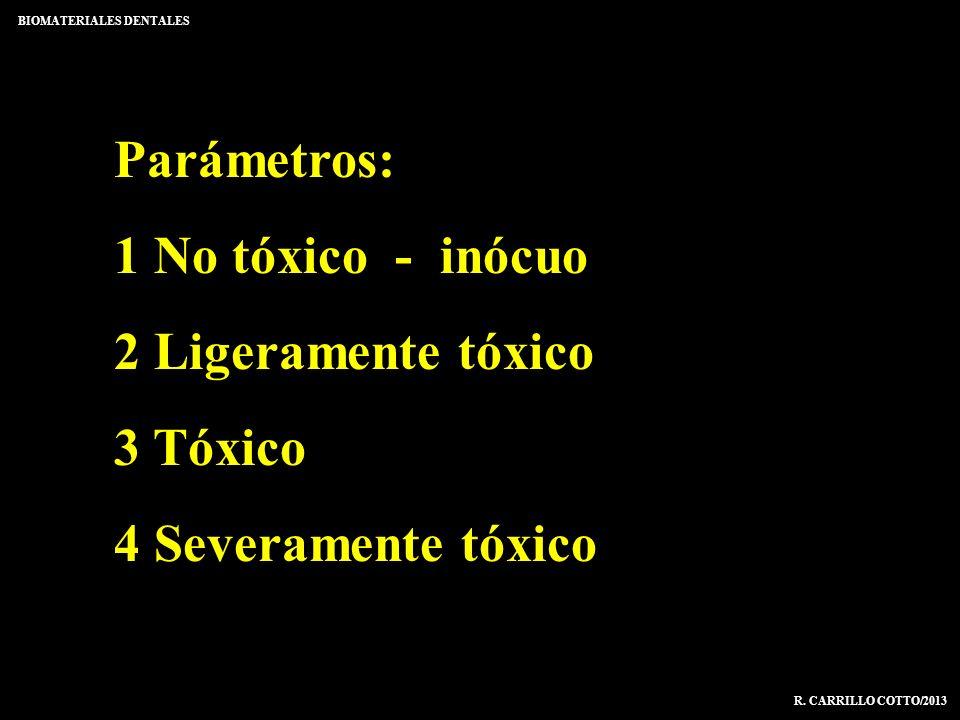 Parámetros: 1 No tóxico - inócuo 2 Ligeramente tóxico 3 Tóxico 4 Severamente tóxico BIOMATERIALES DENTALES R. CARRILLO COTTO/2013