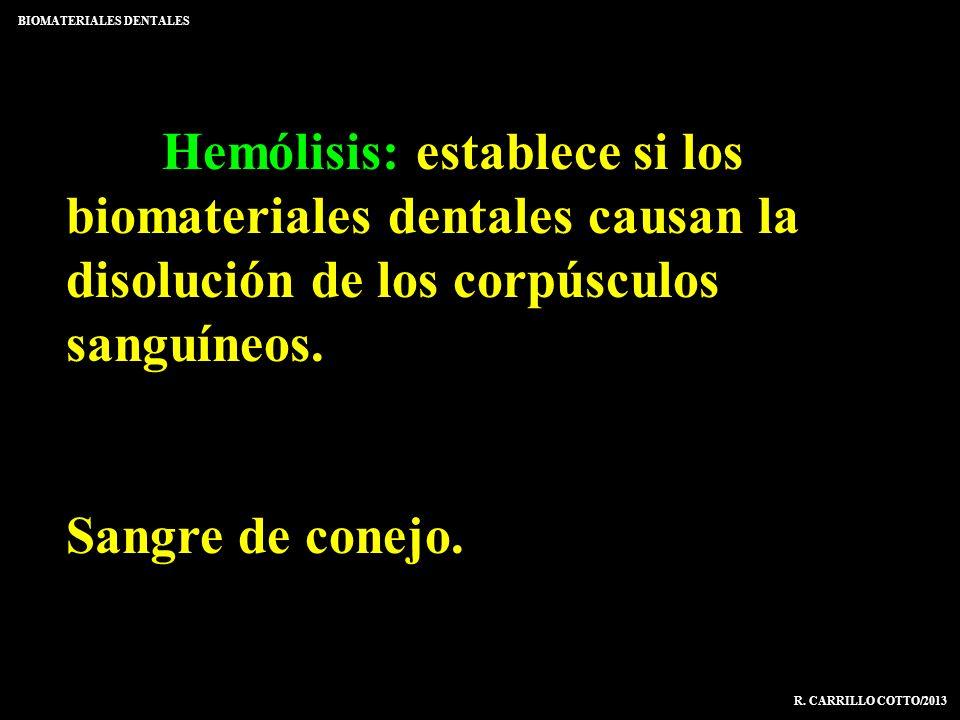 Hemólisis: establece si los biomateriales dentales causan la disolución de los corpúsculos sanguíneos. Sangre de conejo. BIOMATERIALES DENTALES R. CAR