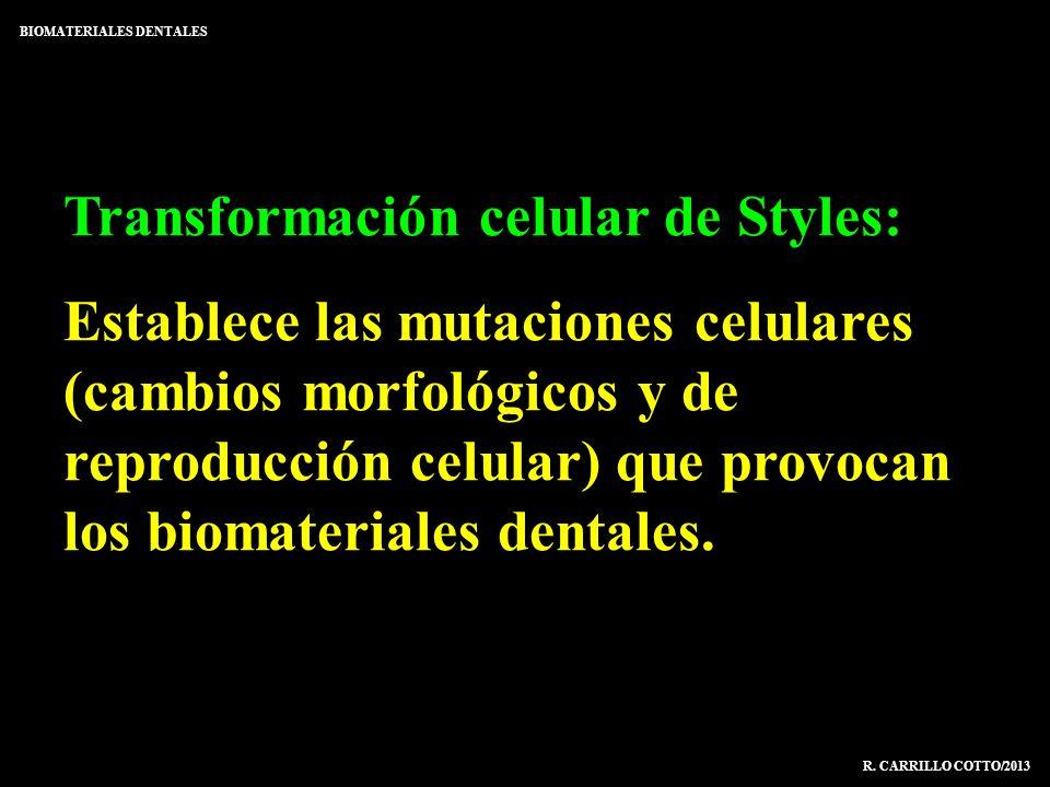 Transformación celular de Styles: Establece las mutaciones celulares (cambios morfológicos y de reproducción celular) que provocan los biomateriales d