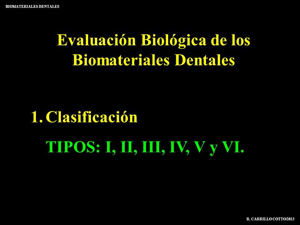 Evaluación Biológica de los Biomateriales Dentales BIOMATERIALES DENTALES R. CARRILLO COTTO/2013 1.Clasificación TIPOS: I, II, III, IV, V y VI.