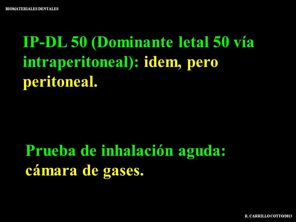 IP-DL 50 (Dominante letal 50 vía intraperitoneal): idem, pero peritoneal. BIOMATERIALES DENTALES R. CARRILLO COTTO/2013 Prueba de inhalación aguda: cá
