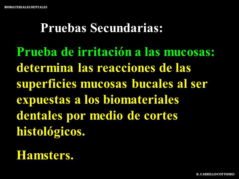 Pruebas Secundarias: Prueba de irritación a las mucosas: determina las reacciones de las superficies mucosas bucales al ser expuestas a los biomateria