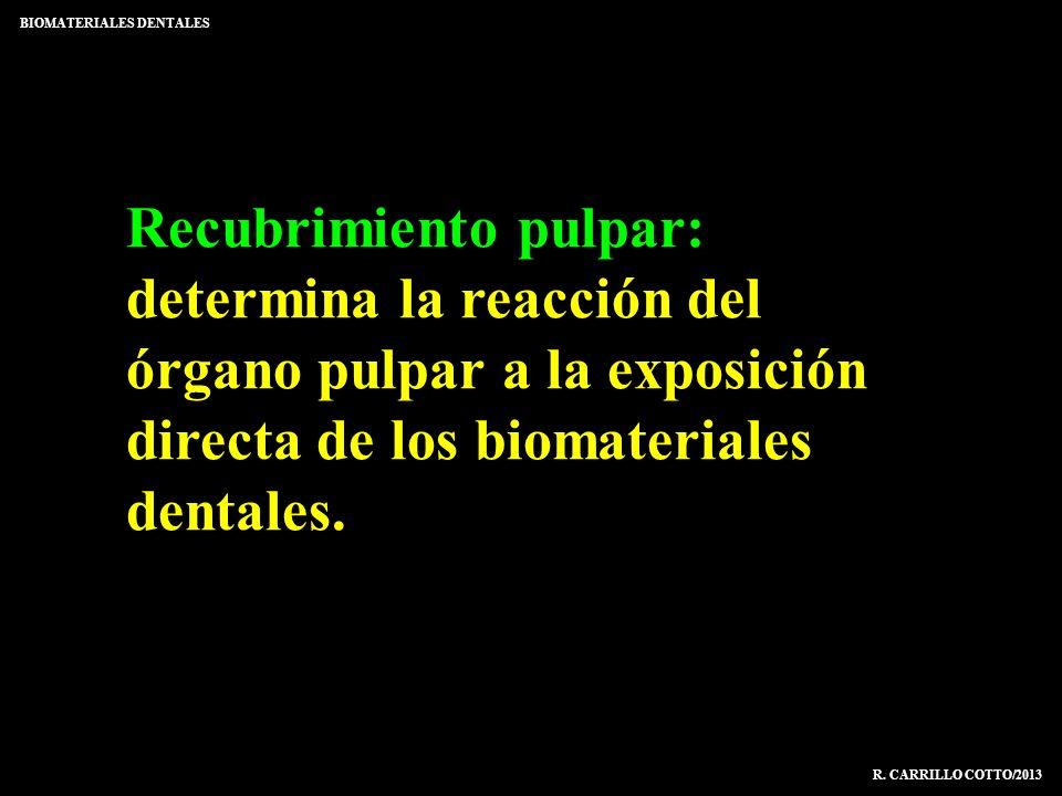 Recubrimiento pulpar: determina la reacción del órgano pulpar a la exposición directa de los biomateriales dentales. BIOMATERIALES DENTALES R. CARRILL