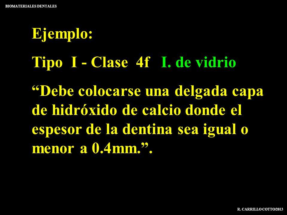 Ejemplo: Tipo I - Clase 4f I. de vidrio Debe colocarse una delgada capa de hidróxido de calcio donde el espesor de la dentina sea igual o menor a 0.4m