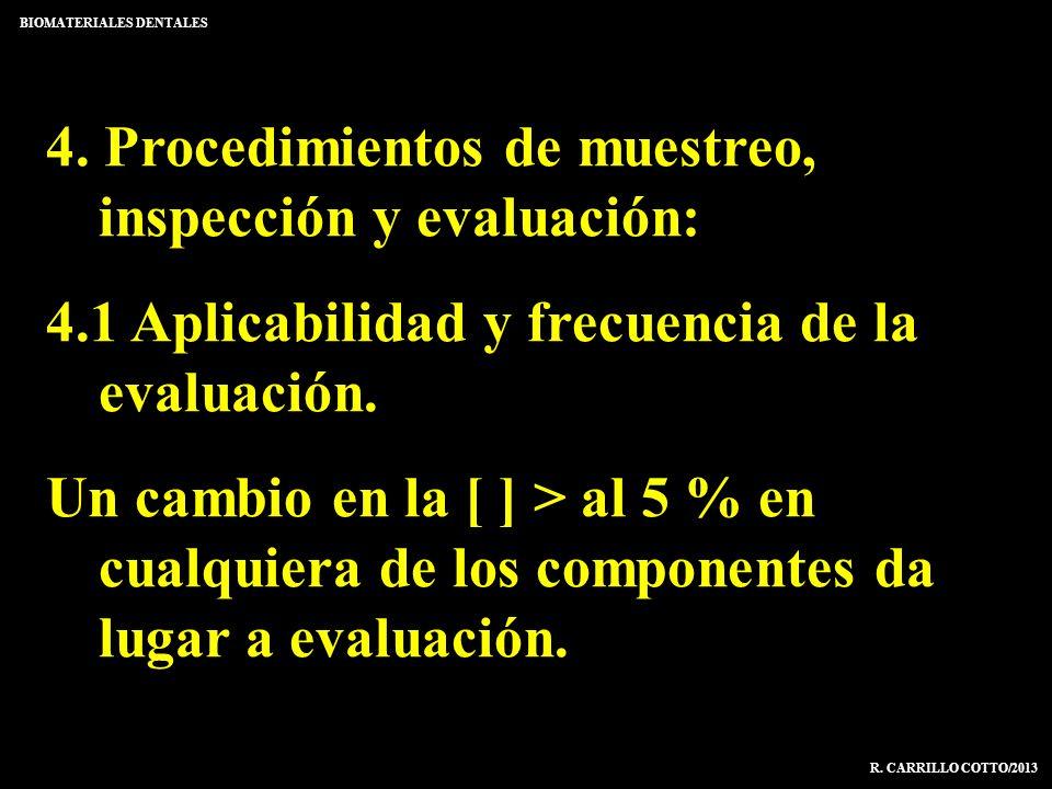 4. Procedimientos de muestreo, inspección y evaluación: 4.1 Aplicabilidad y frecuencia de la evaluación. Un cambio en la [ ] > al 5 % en cualquiera de