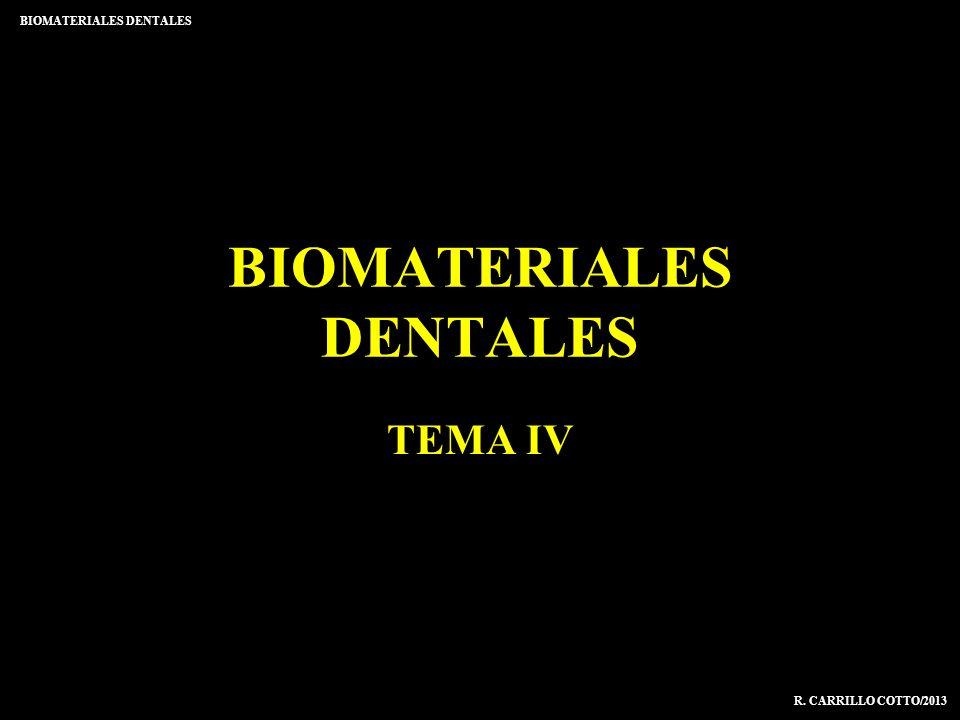 BIOMATERIALES DENTALES TEMA IV R. CARRILLO COTTO/2013 BIOMATERIALES DENTALES
