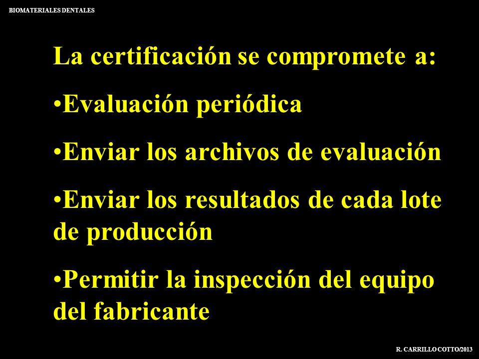 La certificación se compromete a: Evaluación periódica Enviar los archivos de evaluación Enviar los resultados de cada lote de producción Permitir la