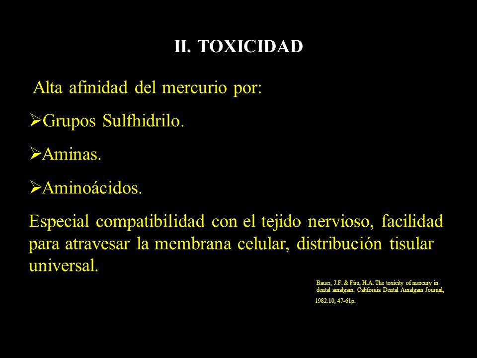 II. TOXICIDAD Alta afinidad del mercurio por: Grupos Sulfhidrilo. Aminas. Aminoácidos. Especial compatibilidad con el tejido nervioso, facilidad para