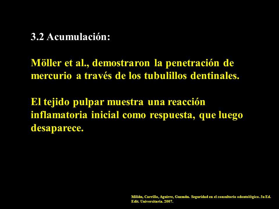 3.2 Acumulación: Möller et al., demostraron la penetración de mercurio a través de los tubulillos dentinales. El tejido pulpar muestra una reacción in