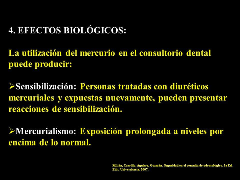 4. EFECTOS BIOLÓGICOS: La utilización del mercurio en el consultorio dental puede producir: Sensibilización: Personas tratadas con diuréticos mercuria