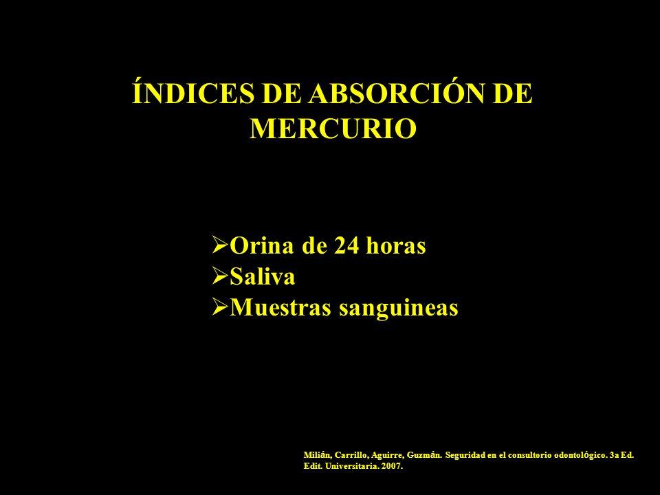 ÍNDICES DE ABSORCIÓN DE MERCURIO Orina de 24 horas Saliva Muestras sanguineas Mili á n, Carrillo, Aguirre, Guzm á n. Seguridad en el consultorio odont